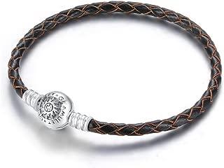 925 Sterling Silver Black Leather Charm Starter Bracelet Fits Pandora Chamilia