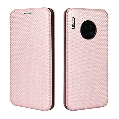 AHUOZ Funda con tapa para Huawei Mate 30, funda híbrida de fibra de carbono de lujo PU y TPU de protección completa a prueba de golpes para Huawei Mate 30 (color rosa