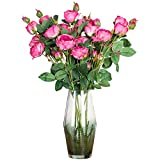 cn-Knight Artificial Flower 6pcs 29'' Long Stem Silk Rose with 3 Blossoms and 2 Buds Faux Rose for Wedding Bridal Bouquet Home Decor Housewarming Gift Centerpieces Baby Shower Reception(Fuschia)