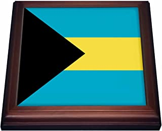 """3dRose trv_158449_1 Flag of the Bahamas islands Bahamian blue yellow gold stripes black triangle country world souvenir Trivet with Ceramic Tile, 8"""" x 8"""", Brown"""