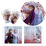 Procos 10134721 - Partyset Disney Frozen 2, Die Eiskönigin, Anna & ELSA, kompostierbar