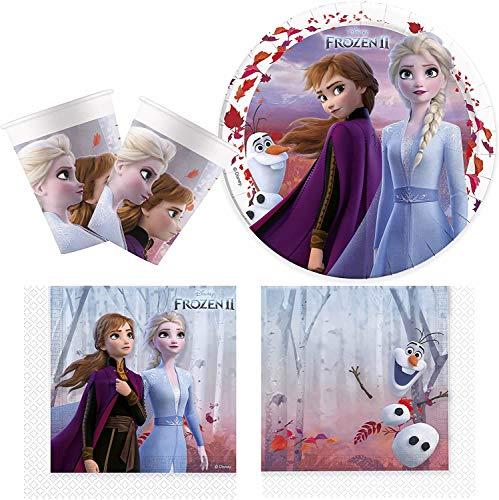 Procos 10134721 Partyset Disney Frozen 2, Die Eiskönigin, Anna und ELSA, kompostierbar