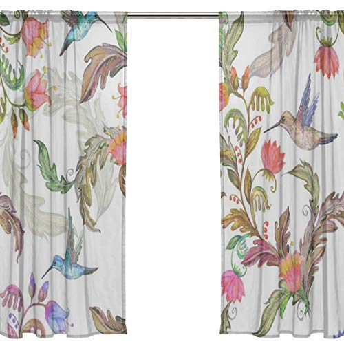 Yiayen Humming Birds Roses Flowers Kid Window Curtains Luxury Blackout Curtains 54 X 84 Inches Long,2 Panels Best Curtains for Bedroom Home Curtains Bedroom