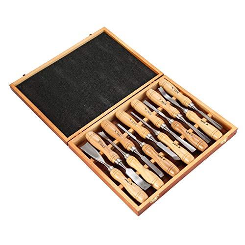 Ballylelly 12 UNIDS Conjunto de Cincel de Talla de Madera Sharp Carpintería Cuchillo de Mano Herramientas Gubias Acero DIY Grabado en Madera Trabajo Profesional