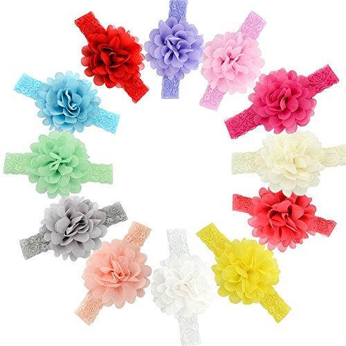 """Gbateri 10 Pack más nuevo Diadema bebé diadema de algodón Niña de diademascon el arco de 4.5""""anudado Venda Envoltura de la cabeza Elastic Solid Color Bow Turbante Banda para niños pequeños Niños Set"""