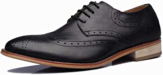 [aemax] 本革 メダリオン&ウイングチップ レースアップカジュアル ビジネスシューズ メンズシューズ 革靴 メンズ 紳士靴 カジュアルシューズ オールシーズン 本革 通気快適 長持ち 軽量 柔らかい 就活 通勤