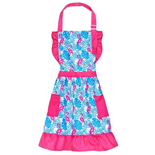 Nidoul Kid Girls Apron, Adjustable Kitchen Cooking Ruffles Apron with Pocket (Flamingo, 6-12 Years)