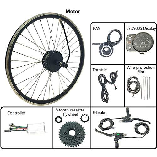 ZLM Bike Conversion Kit Fahrrad-Power-Assisted Umrüstsatz 48V 250W des hinteren Schwungrad Nabenmotor mit LED900S Anzeige Elektro-Bike Kit,26inch LED Sets