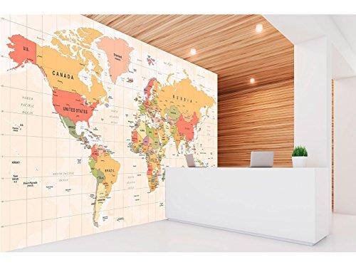 Fotomural Vinilo Pared Mapamundi Político Fondo Beige | Fotomural para Paredes | Mural | Vinilo Decorativo | Varias Medidas 200 x 150 cm | Decoración comedores, Salones, Habitaciones.