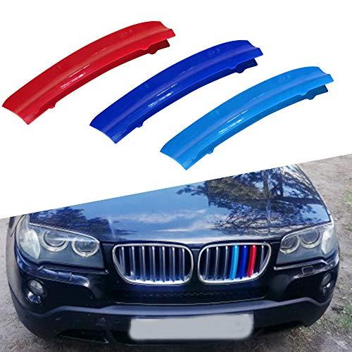 Tuqiang 3 Farben 3D MotorSport Frontgrill Zierleisten Grill Cover Dekoration Aufkleber für X3 E83 2007 2008 2009 2010 (7 Gitter)