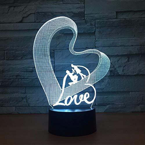 Love 7 Color 3D Night Light Lampe Atmosphère Romantique
