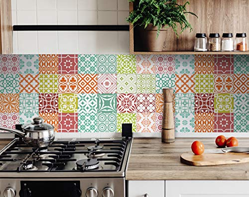 Mi Alma Backsplash Bathroom Décor Tiles 24-Piece Talavera Tile Stickers Peel and Stick Easy Application Ideal for Bathroom, Kitchen Wall Tile Decals – 4x4 (Soft Colored)
