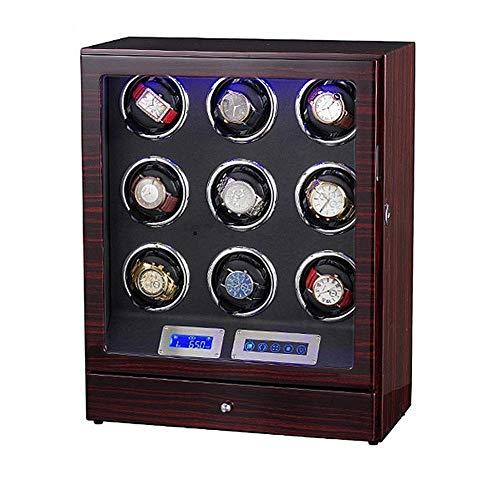 GUOOK BoîTe Montre pour 9 Montres avec Le Bobinier Unisexe Automatique Montre Quadruple en Bois LéGer LED, Affichage Tactile LCD avec Le Mode 5