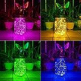 Aikeve Solar Mason Jar Lights,4 Pack 30 Led Multicolor Starry Fairy String Hanging Jar Lights,Solar Lanterns for Outdoor Patio Party Garden Wedding Decorations Lights(Mason Jars/Handles Included)