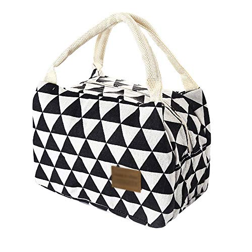 Sanyyanlsy Lunch Bag for Women Men Kids, Leakproof Thermal Reusable Lunch Box, Lunch Cooler Tote for Office Work Insulated Canvas Box Tote Bag Food Lunch Bags,B