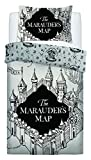 Warner Bros Marauders Map Set Copripiumino per Letto Singolo, Cotone, Grigio...