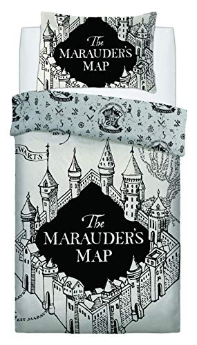 Warner Bros Exclusive Harry Potter Marauders Map Kids Teenagers Bold Duvet Quilt Covers With Pillowcases (Single), Grey