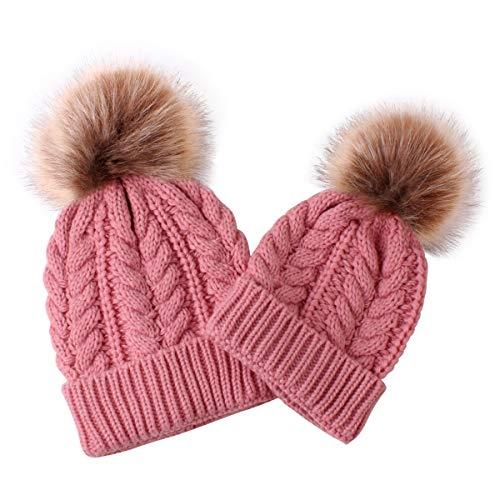 puseky 2pcs Eltern-Kind-Strickmütze Mutter & Baby-Familie passenden Winter warm häkeln Beanie Hut
