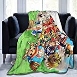 One Piece Anime Weighted Blanket for Adults and Children, Heated Bed Throws with Ultra-Soft Micro Fleece (Black).