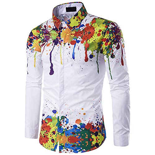 Men's Shirt Long Sleeve Slim-Fit Multicolor Graffiti Printed Shirt Leisure Basic Button-Down T Shirt Fashion Vacation Shirt 2020 New Classic Modern Lightweight Breathable Novelty Tops 3XL