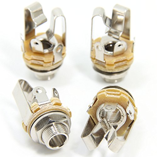 Ancable 4-Pack 1/4' Stereo Female Jack -6.35mm TRS Panel Mount Socket with Washer and Nut Solder Type for Guitar Pedals Bass Fender Footswitch and Any Other Applications with 6.35mm