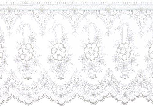 Plauener Spitze by Modespitze, Store Bistro Gardine Tüllgardine Florentiner mit Stangendurchzug, hochwertige Stickerei, Höhe 46 cm, Breite 178 cm, Creme
