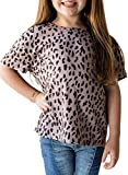 Sidefeel Girls Cute Leopard Print Tops Short Round Neck Short Sleeve Loose Soft Blouse T-Shirt Size 8-9 Black
