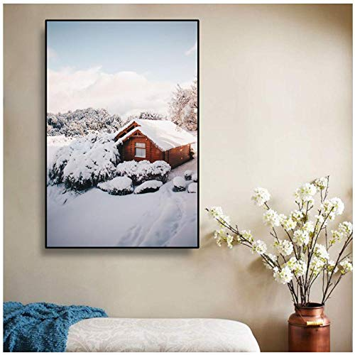 Nordic Wall Art Cabin Canvas Schilderij Winterlandschap Posters en Prints Canvas Foto Woondecoratie voor Woonkamer Decor / 50x70cm zonder frame