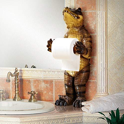 LANKOULI Tissue Box Bad Handtuchhalter Bad Toilettenpapierhalter Papier Kassettenhalter Harz Krokodil Pumpschale Dekoration