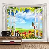 Erjialiu Tapisserie Bel Arbre à l'extérieur de la fenêtre Tapisserie imprimée Pas Cher Hippie Tenture Murale Bohème tapisseries murales Mandala Wall Art déco,Color 15,200x150cm