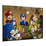 Mario Anime Canvas Gaming Poker Poster Print Abstract Painting Wall Picture Modern For Living Room Home Decor (Framed,12x16inch)