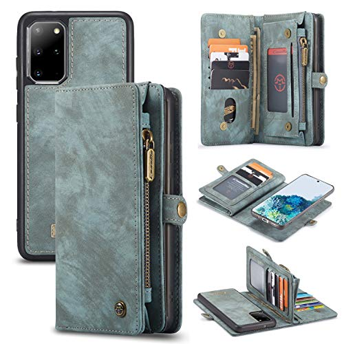 Galaxy S20 Wallet Case,AKHVRS Handmade Premium Cowhide Leather Wallet Case,Zipper Wallet Case [Magnetic Closure] Detachable Magnetic Case & Card Slots for Samsung Galaxy S20 (Blue)