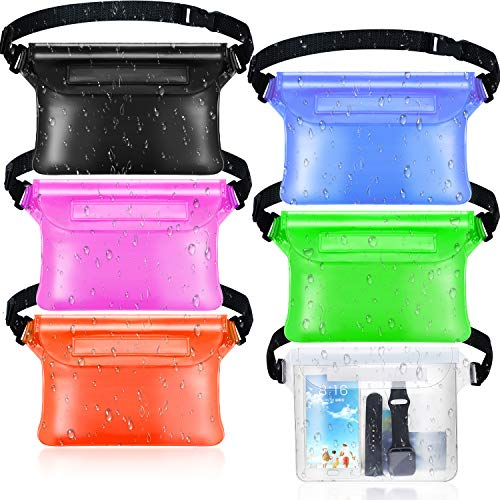 Frienda 6 Pieces Waterproof Fanny Pack Pouch with Waist Strap Screen Touchable Dry Bag Water Resistant with Adjustable Belt Waterproof Phone Case Wallet for Swimming Snorkeling Boating Fishing