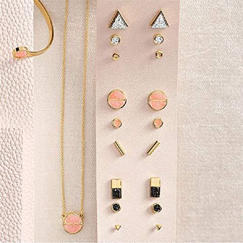 Mud Pie Druzy Earring Pack (Pink)