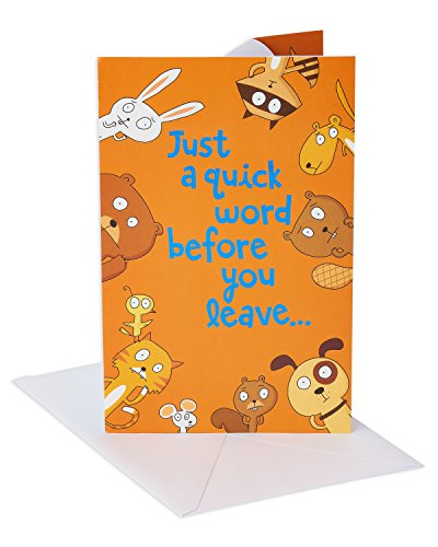 American Greetings Funny Goodbye Card (Animals, Dont Leave)