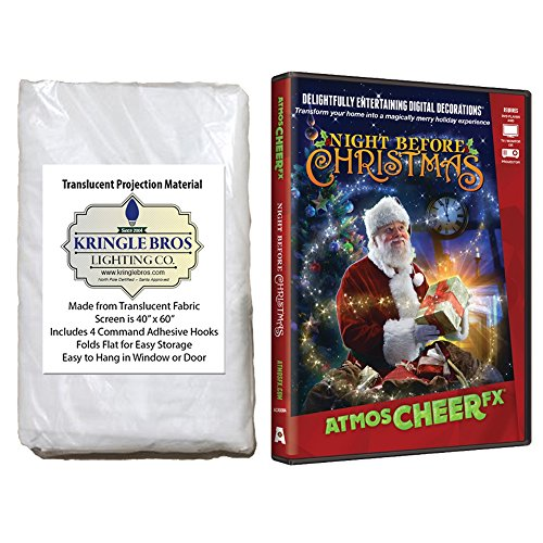 Christmas Digital Decoration Kit Includes 60' x 40' Kringle Brothers High Resolution Window Rear Projection Screen and AtmosCHEERfx Night Before Christmas on DVD