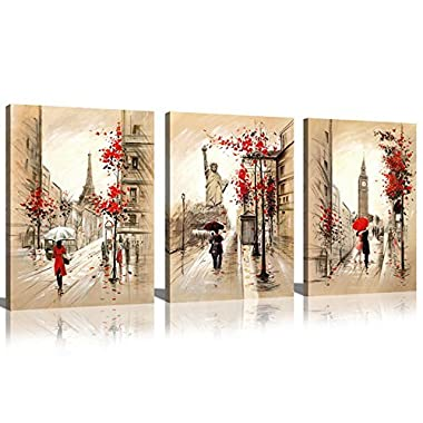 Sunrise Art-Canvas Prints Paris Street and Eiffel Tower Oil Painting Modern Wall Art for Living Room Decoration