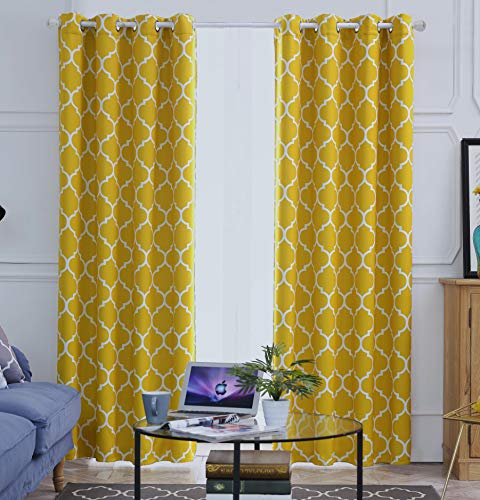Blackout Curtains Yellow for Living Room Thermal Insulated Room Darkening Window Curtain Panels with Grommets (52 x 96, Yellow)