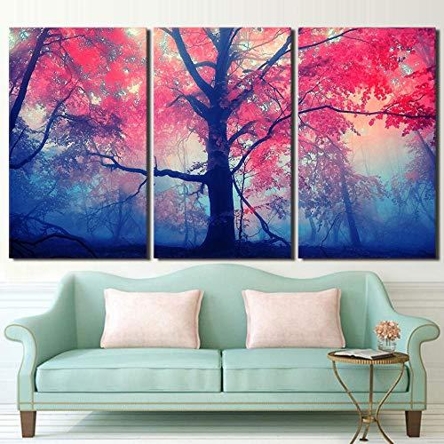 3 piezas rojo rosa árbol arce paisaje cartel habitación lienzo pintura pared arte cuadros abstractos sin marco 40x60cm/15.7*23.6inch