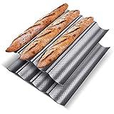KITESSENSU Nonstick Baguette Pans for French Bread Baking (4 Loaves 15