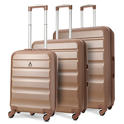 Aerolite Lightweight 4 Wheel ABS Hard Shell Luggage Suitcase Travel Trolley (3 Piece Luggage Set, 21' Cabin + 25' + 29', Rose Gold)