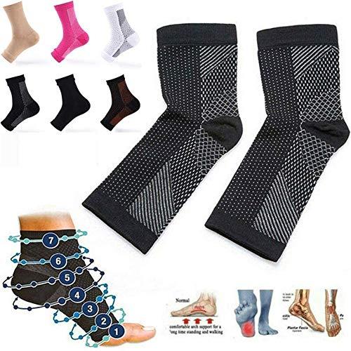 6 Paar Dr Sock Beruhigungssocken Socken gegen Ermüdungskompression Fußstütze Stützstütze - sofortige Linderung von Fuß- und Knöchelschmerzen (Schwarz, S/M)