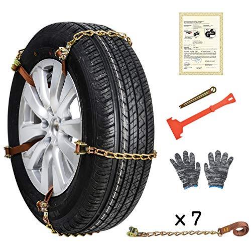 Oziral Cadenas de Nieve para neumáticos de Coche camión SUV 10 Piezas Universal Cadenas Coche Antideslizante de Neumático de Nieve Chains para Cualquier Ancho de Llantas de 145 a 295 mm