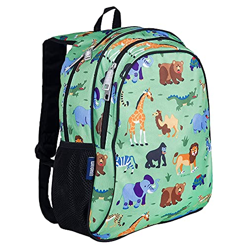Wildkin 15 Inch Kids Backpack for Boys & Girls, 600-Denier Polyester Backpack for Kids, Features Padded Back & Adjustable Strap, Perfect Size for School & Travel Backpacks, BPA-free (Wild Animals)