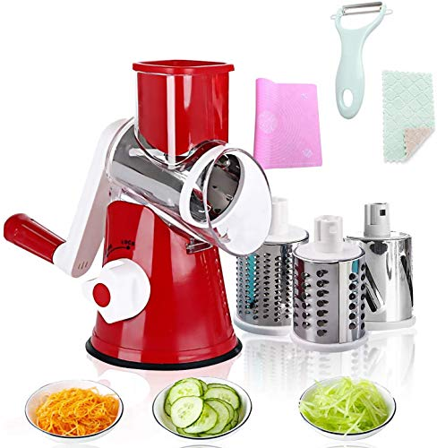 Manual Rotary Cheese Slicer Parmesan Cheese Grater With 3 drum-shaped stainless steel blades for cheese, potato, onion, cucumber and carrot salad machine (red)