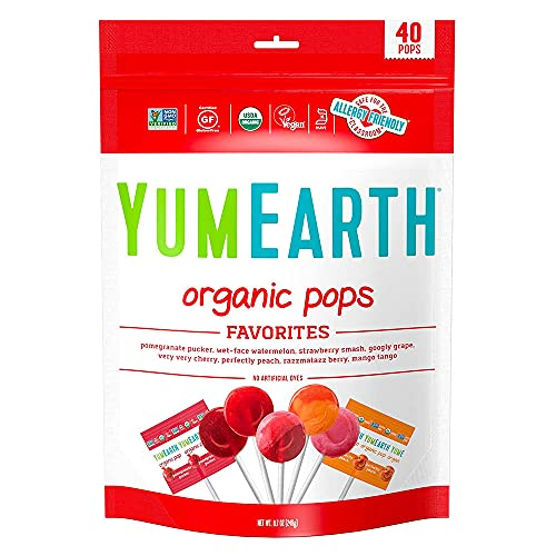 YumEarth Organic Lollipops, Assorted Flavors, 8.7 Ounce, 40 Lollipops (Pack of 1) - Allergy Friendly, Non GMO, Gluten Free, Vegan (Packaging May Vary)