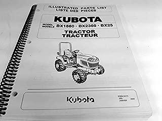 Illustrated Parts List for Kubota BX1860, BX2360 & BX25 Tractors.