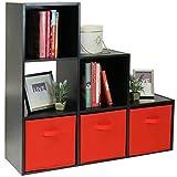 Hartleys Cabinet Noir A 6 Cubes & 3 Bacs de Rangement Rouge