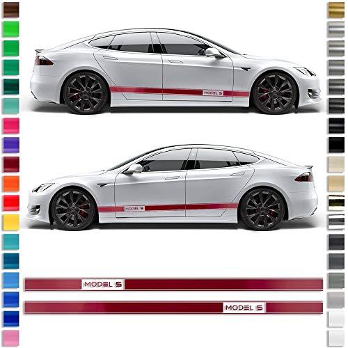 Auto-Dress® pagina strepen sticker set/decoratie geschikt voor Tesla S in de gewenste kleur - motief: Model S 111 m zwart mat.