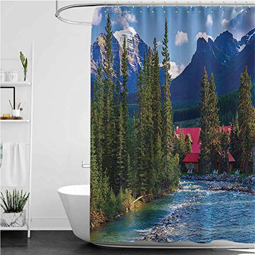 """Interestlee Lake House Shower Curtains, Pipestone River Rushes Past Log Cabins in Lake Louise Village Rust-Resistant Grommet Holes Bath Curtain, Canada, 108"""" x 72"""""""
